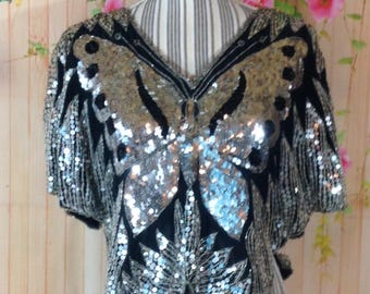 Fantastic 80's Sequined Butterfly Top
