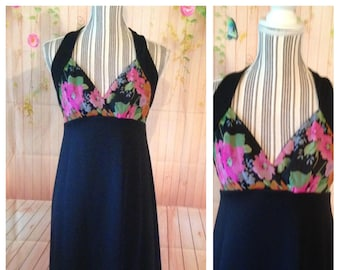 Vintage 70's Black Halter Maxi Dress with Floral Top