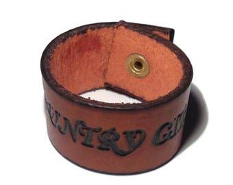 Vintage Country Girl Leather Snap Bracelet