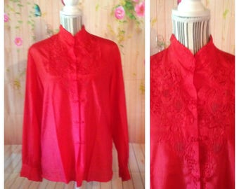 Vintage Rose Brand Embroidered Red Blouse