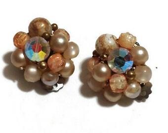Vintage Brown Beaded Clip Earrings