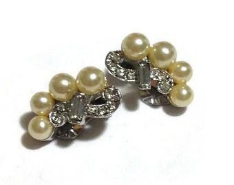 Vintage Marvella Pearl and Rhinestone Clip Earrings