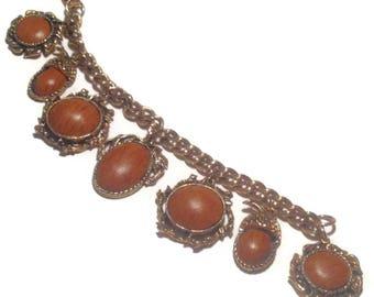 Vintage Goldtone Acorn Charm Bracelet