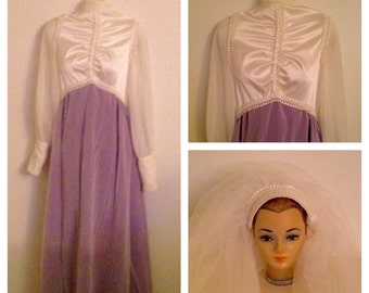 Gorgeous Vintage Cream and Lilac Wedding Gown with Veil