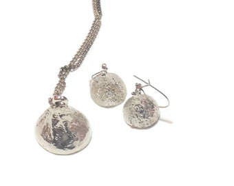 Vintage Silvertone Hershey Kisses Necklace and Earrings