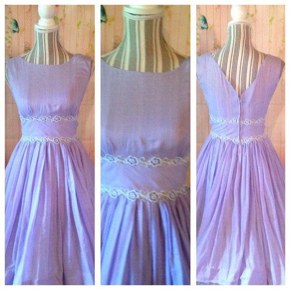Vintage 50's Lavender Cotton Dress