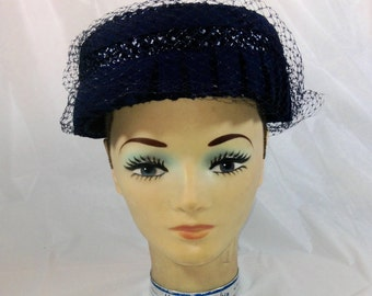 Ladies Vintage Blue Woven Hat