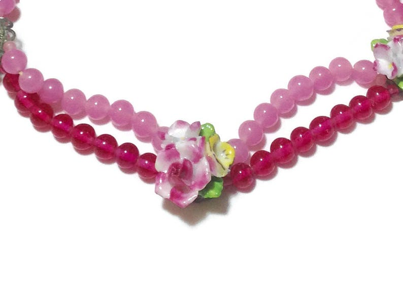 Show Stopping Vintage Pink Beaded Choker with Porcelain Roses Stamped Japan