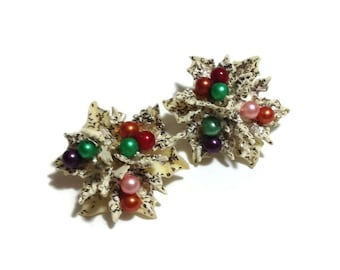 Vintage Flower Beaded Clip Earrings