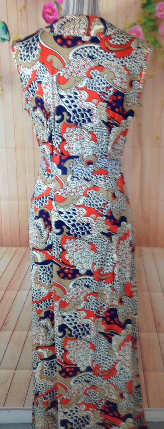 Vintage Colorful Zipper Front Maxi  Dress - image 4
