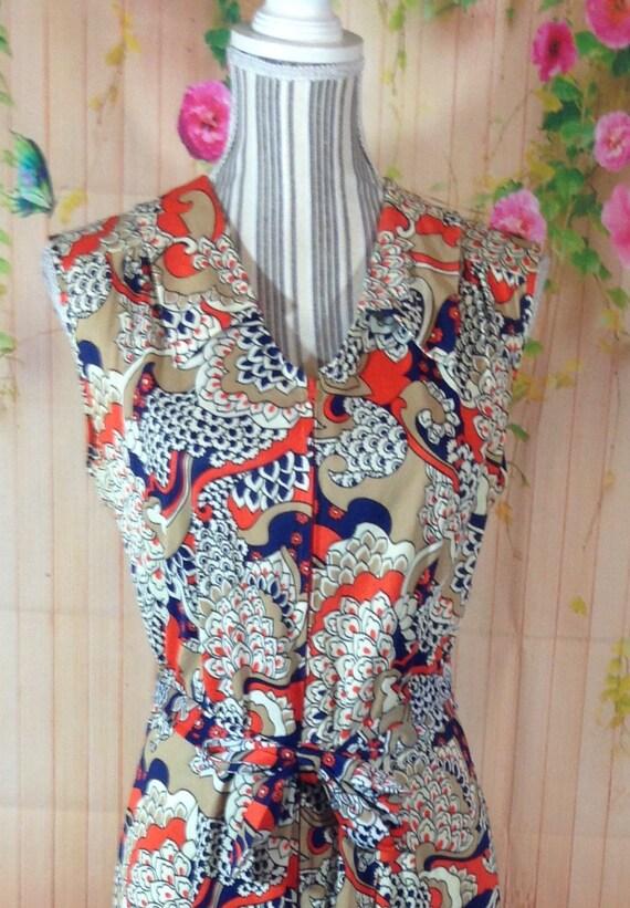 Vintage Colorful Zipper Front Maxi  Dress - image 2