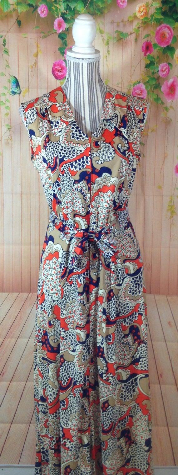 Vintage Colorful Zipper Front Maxi  Dress - image 3