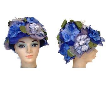 Fabulous Vintage Blue Floral Hat