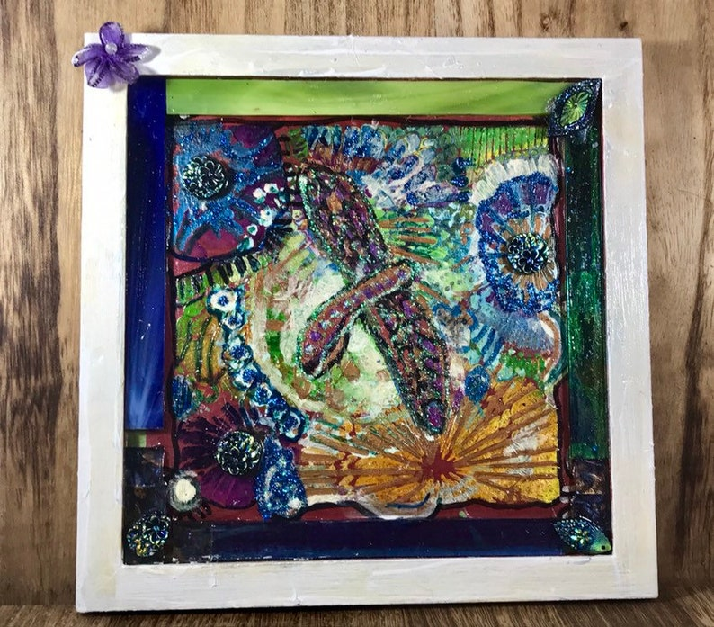 Dragonfly Mixed Media Abstract Collage acrylic Painted Bright cilirs!
