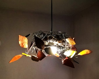 Lamp ceiling, recycled materials, original lamp, contemporary decor, made by hand, vintage, for the living room, kitchen