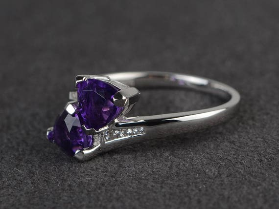 Trillion Cut Ring Classic Silver Ring Birthstone Ring Colorful Crystal Ring Gorgeous Amethyst Promise Ring Beautiful Birthstone Rings