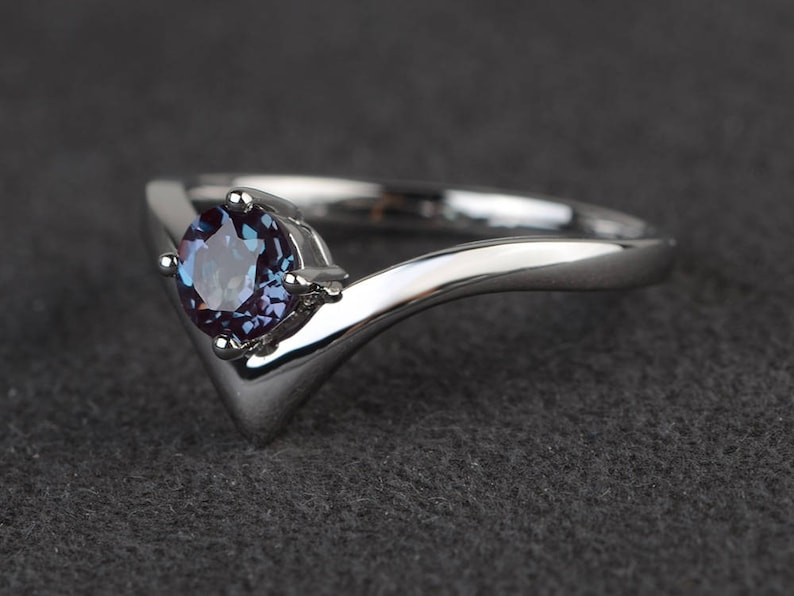 alexandrite ring promise ring round cut gemstone June birthstone sterling silver ring solitaire ring