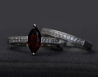 natural garnet ring set engagement ring silver marquise cut red gemstone rings January birthstone ring bridal ring set