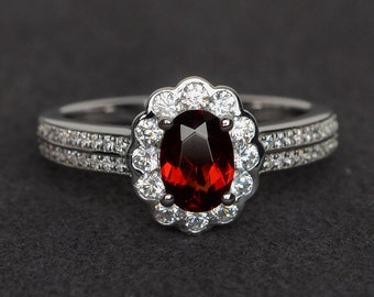 garnet ring silver January birthstone ring natural gemstone ring red garnet ring oval cut halo ring