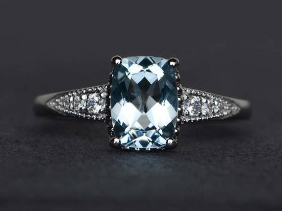 Cushion Cut Aquamarine Engagement Ring Blue Aquamarine Rings Etsy