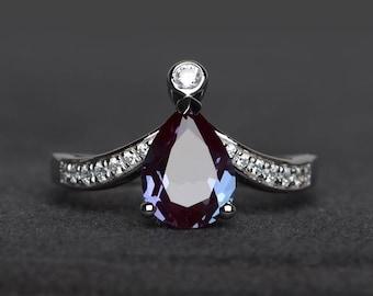 alexandrite ring engagement pear cut gemstone sterling silver ring June birthstone