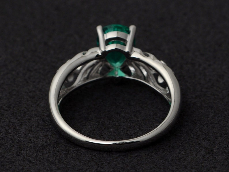 emerald ring silver solitaire ring green engagement rings for her anniversary rings gemstone ring May birthstone