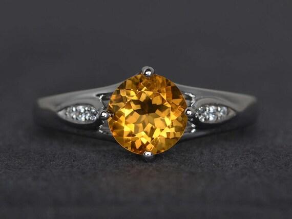 Band Ring Wedding Ring Engagement Ring 925 Sterling Silver Ring Personalised Ring Thanksgiving Ring Natural Citrine Gemstone Ring
