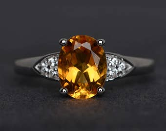 oval cut engagement ring natural citrine ring yellow stone ring sterling silver November birthstone ring