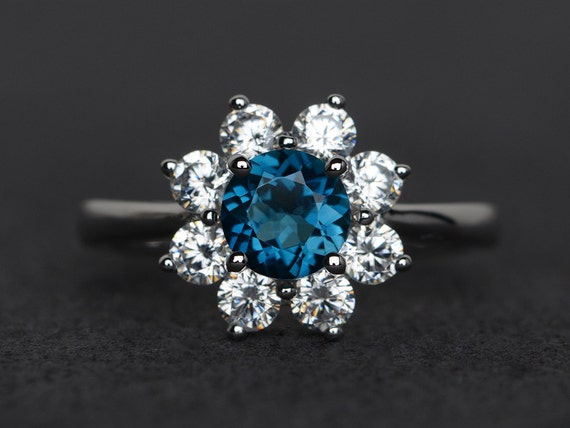 London blue topaz ring sunflower rings round cut blue topaz engagement ring silver ring