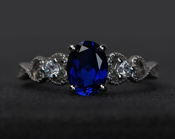 blue sapphire rings women engagement ring gemstone rings oval cut sterling silver 925 September birthstone ring