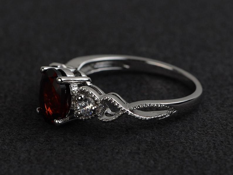 garnet rings silver engagement rings women red gemstone ring oval cut natural garnet January birthstone ring