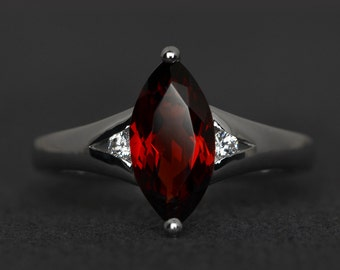 natural garnet ring women sterling silver gemstone ring marquise cut engagement rings red January birthstone ring