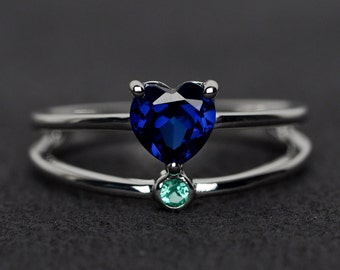 sapphire ring blue sapphire engagement ring heart cut gemstone ring sterling silver September birthstone ring