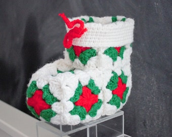 Vintage and unique Christmas stocking handmade from granny squares, unique gift card holder