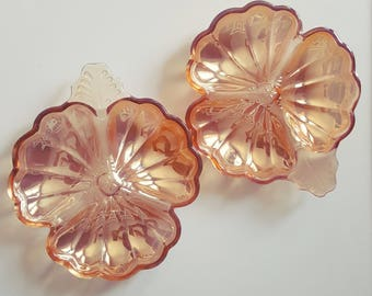 Set of 2 vintage blush or peach glass dishes, vintage nut or candy dish, vintage catch all/vanity/jewelry dish