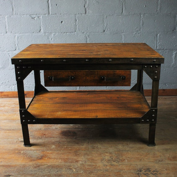 Vintage Work Bench, vintage kitchen island, kitchen bench, up cycled work  bench, metal and wood bench, industrial bench, industrial kitchen