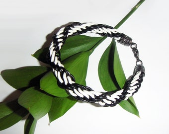 Large Genuine leather bracelet, Black& White  leather bracelet, Handmade bracelet.