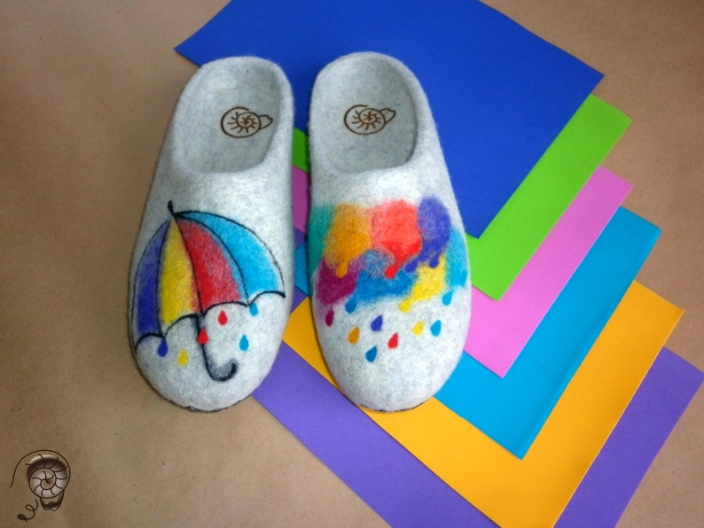 9e47e8424ad79 Watercolor Slippers Wool Felted Women Aquarelle Painting Bright Rain Felt  Shoes Rainbow Funny Optimist Good Mood Gift Home Daughter Clogs