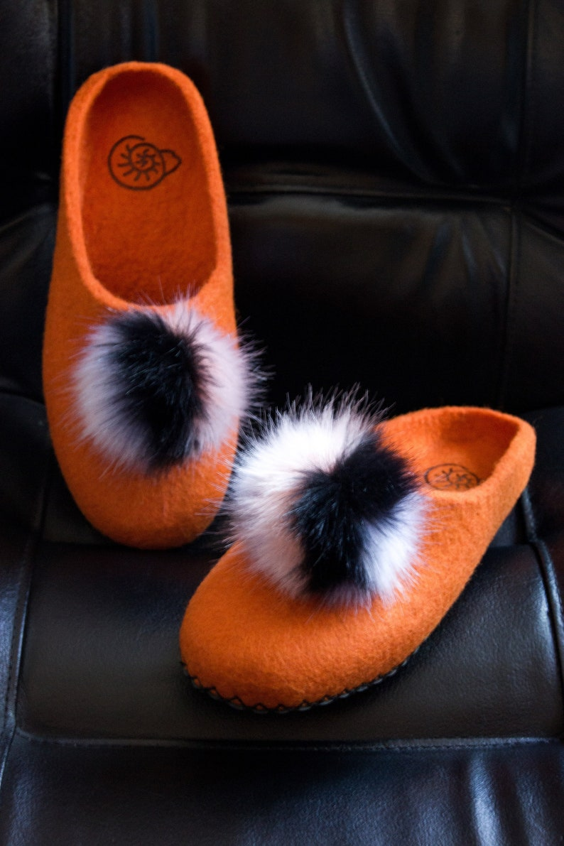 cc70a69d46e3 Orange Felted Fluffy Bubo Slippers Artificial Natural Real Fur