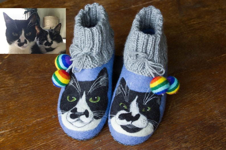6062b1ce48eb7 Personalized Cat Picture Painting Felted Slippers for Woman Portrait Wool  Felt Clogs Animal Dog Pet Lover Shoes Gift Christmas Daughter Wife