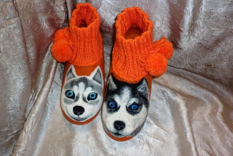 fb5b536566ce6 Husky Dog Felted Slippers Orange Pet Animal Portrait Wool Felt Shoes Women  House Clogs Forever Friends Personalized Pet Lover Daughter Gift