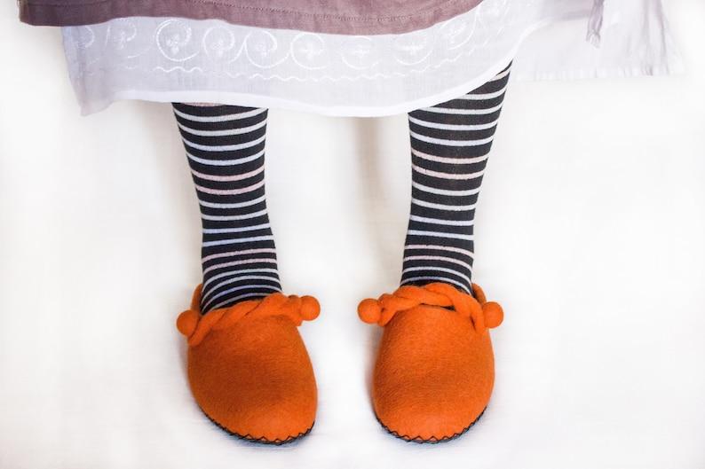 1e92769d41da8 Orange Felted Slippers Women Men Wool Felt Unisex Shoes House Warm Clogs  Home Boiled Unique Shoes Fall Christmas Gift Eco Friendly Quality