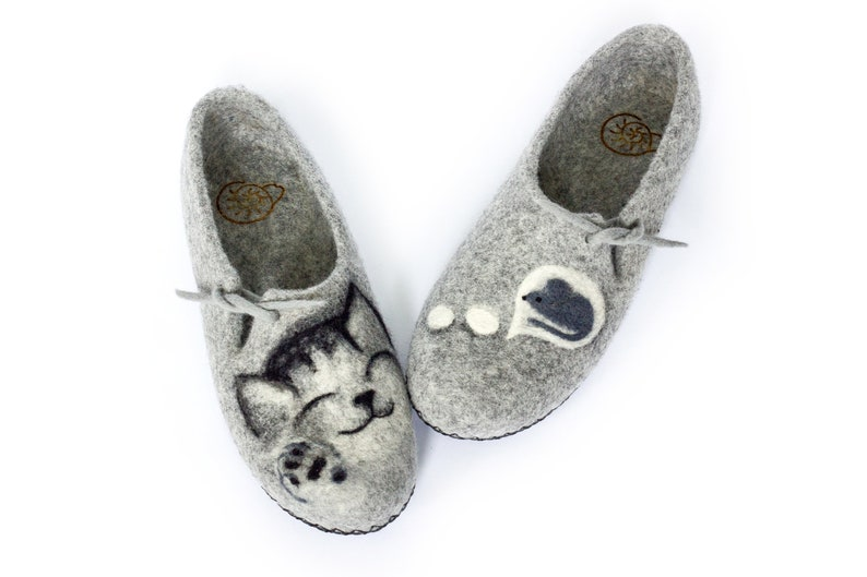 eefb238898165 Slippers Felted Women Wool Mom Grandmother Mothers Day Natural Cat and  Mouse Felt House Organic Home Gray Shoes Eco Friendly Clogs Pet Lover