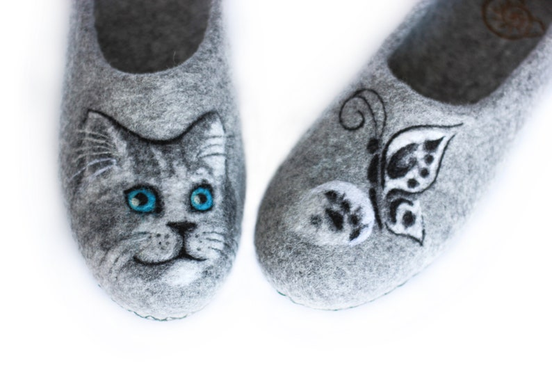 93b082c6067fe Grey Wool Felted Women Cat Butterfly Slippers Natural Eco Saint Valentines  Day Gift Pet Lover Mother House Clogs Home Custom Warm Felt Shoes