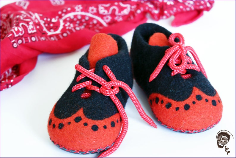 7c73c2a2090b6 Felted Slippers Baby Booties Toddler Child Orange Babe Wool Laced Up Cozy  Warm Comfy Kids Clogs Shoes Newborn Announcement Baby Shower Gift
