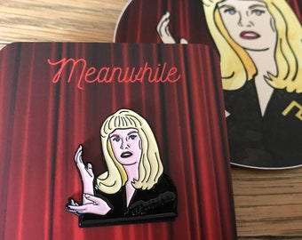 Meanwhile Laura Palmer Twin Peaks Soft Enamel Pin + Vinyl Sticker - David Lynch