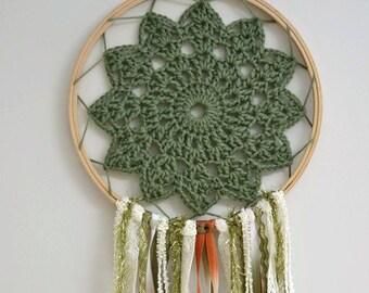 Forest Green Crocheted Boho Dream Catcher