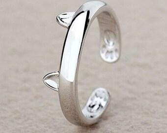 Beautiful Silver Style Cat Ears Ring Jewellery Kitten Cat Lover - One Size Adjustable