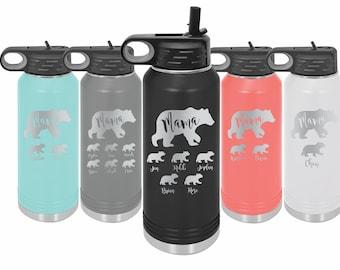 Mama Bear Sports Water Bottle 34 Oz Water Tracker