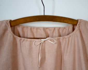 French, Vintage, Farmers Smock, Natural Dye, Dusty Pink, Rustic, Provencal, Workwear, Biaude, Linen, Dress